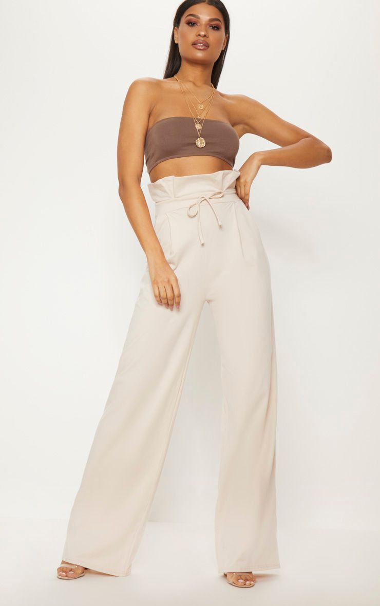 Cream Paperbag Wide Leg Trouser