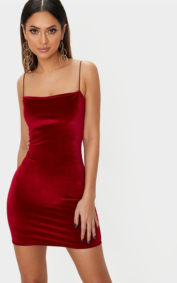 Burgundy Velvet Straight Neck Bodycon Dress