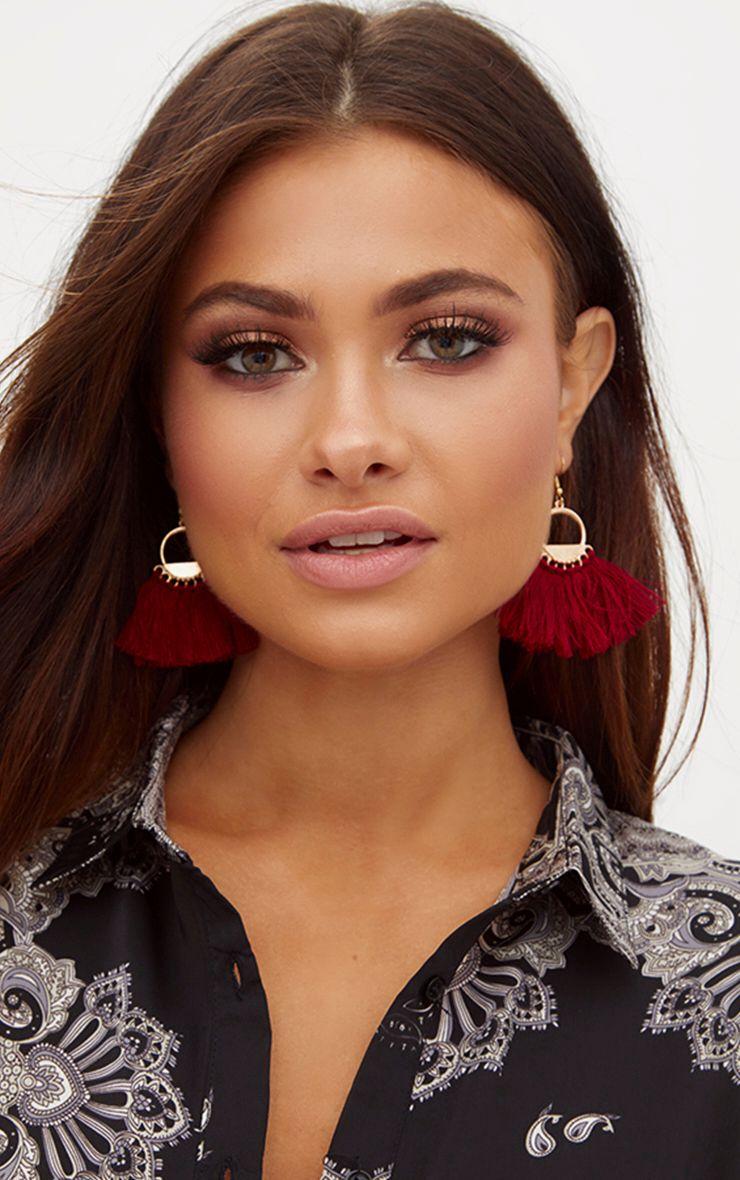 Burgundy Drop Fan Tassel Earrings 1