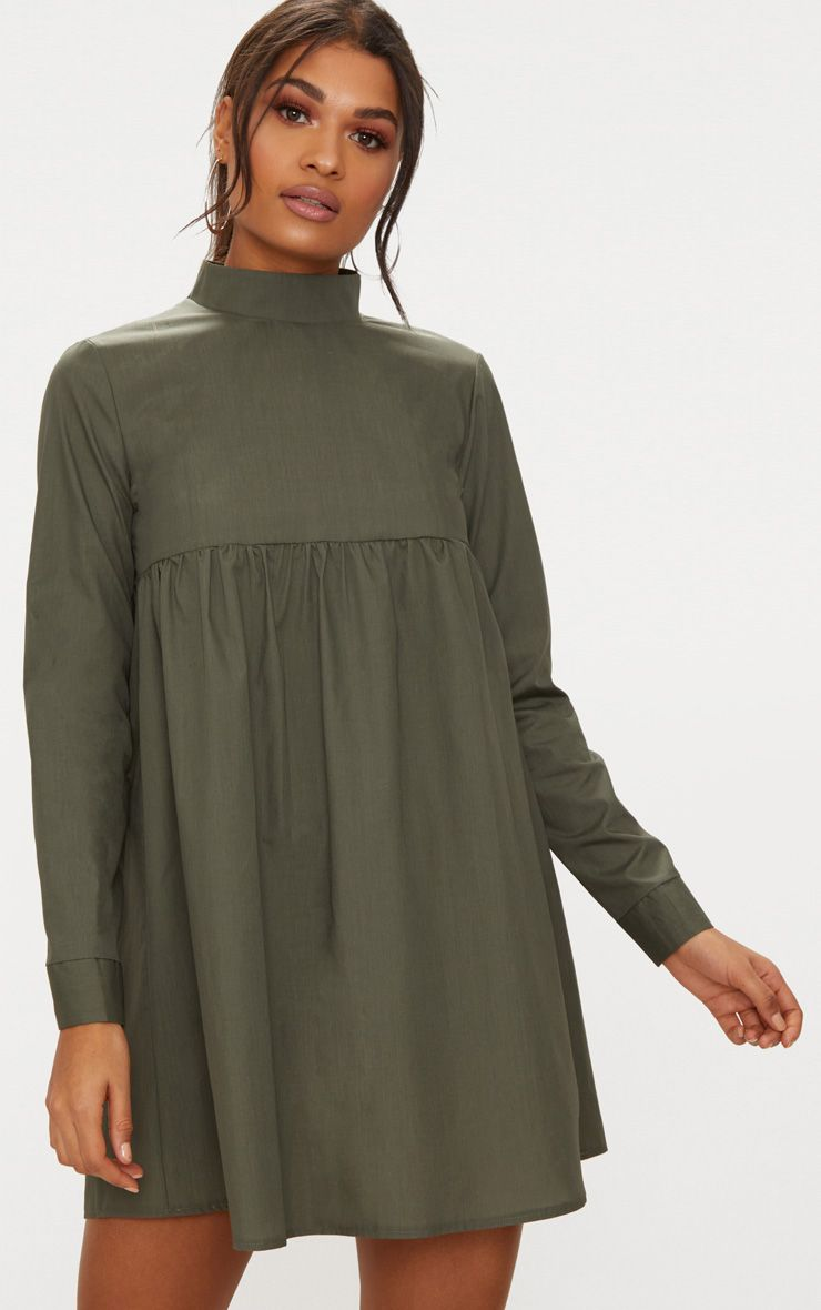 Khaki Cotton Poplin High Neck Smock Dress
