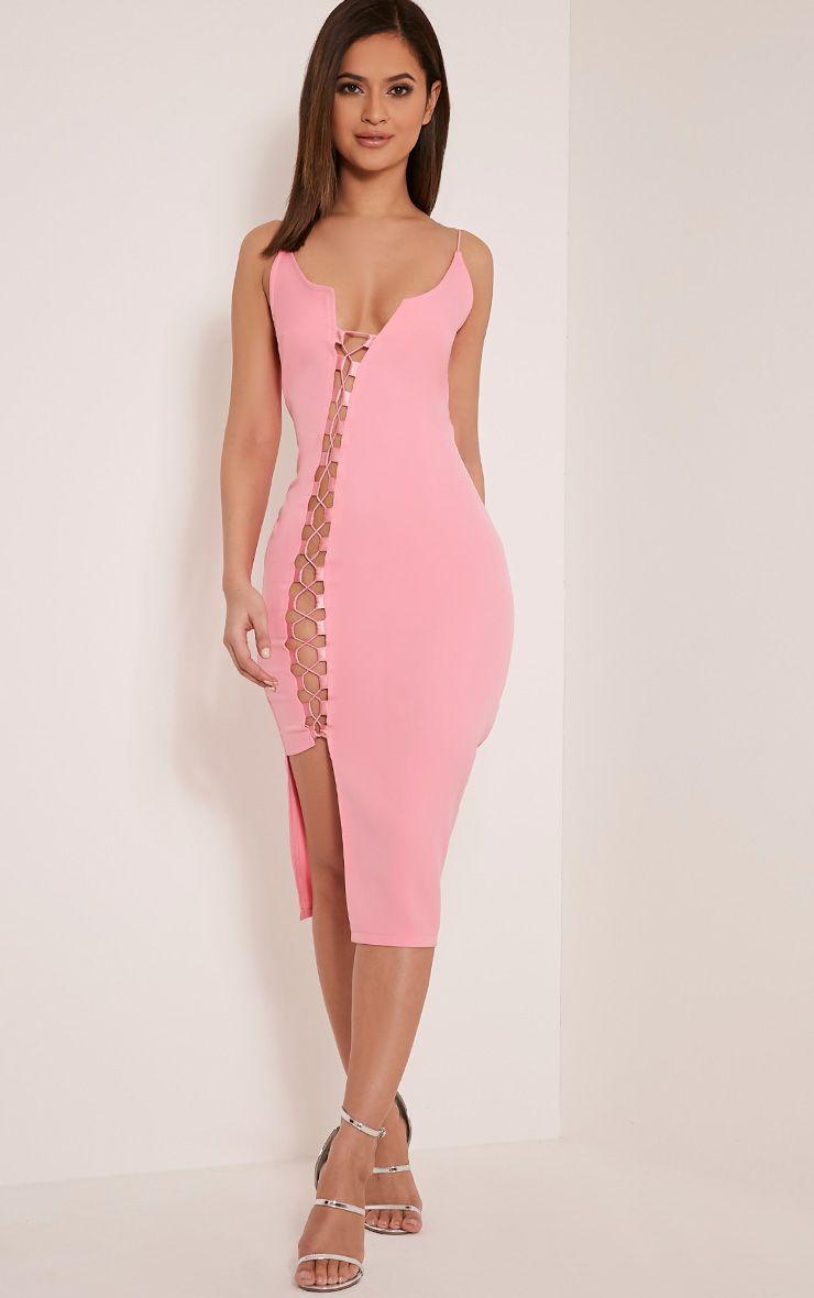 Lovina Bubblegum Pink Lace Up Bodycon Dress 1