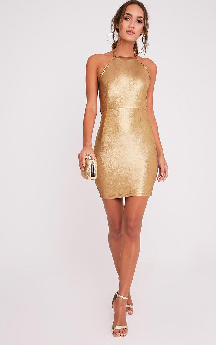 Opia Bronze Shiny Open Back Midi Dress