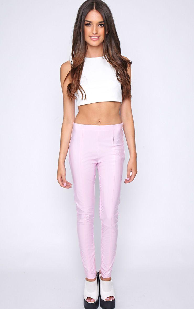 Cyra Pink PVC Trouser  1