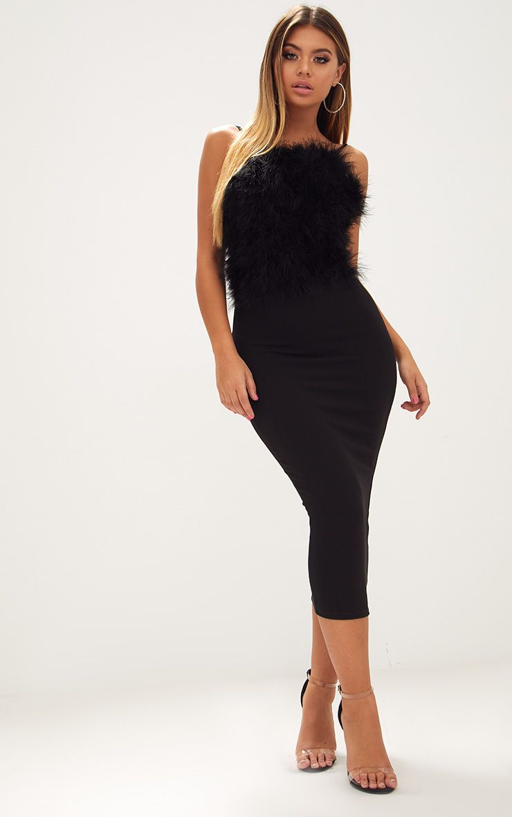 Black Feather Bust Strappy Midi Dress