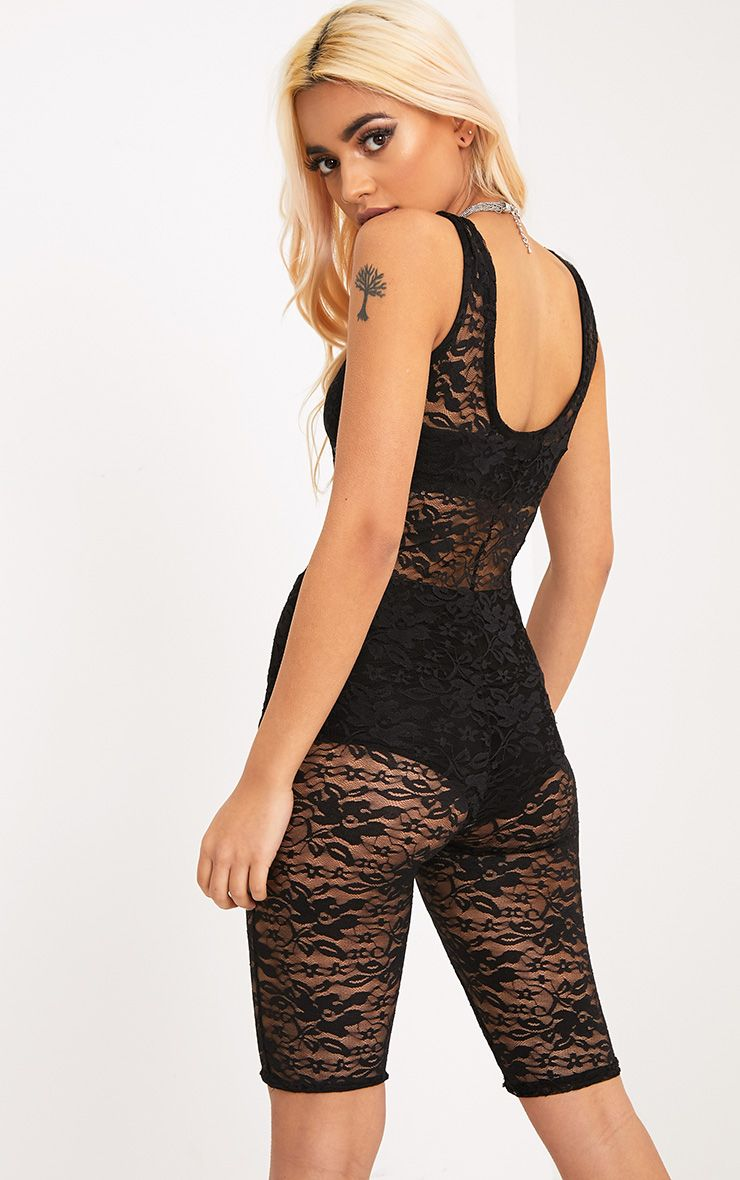 Lainey Black Lace Unitard