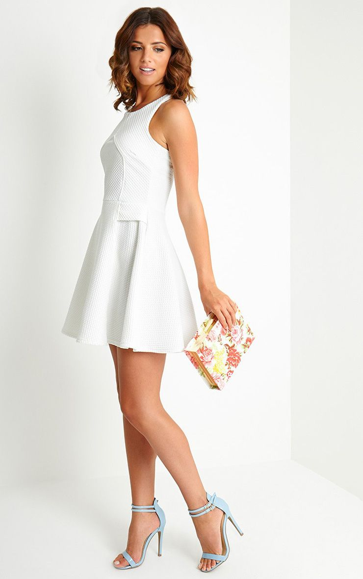Jenni Cream Textured Skater Dress 1