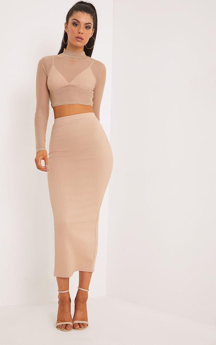 Kaira Stone Ribbed Midaxi Skirt