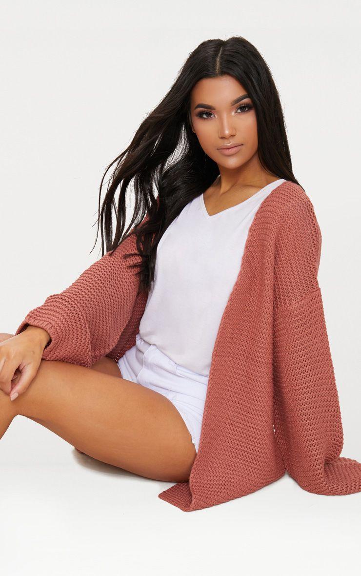 Pink Oversized Chunky Knit Cardigan
