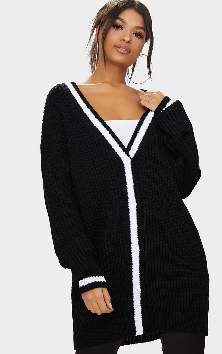 Black Contrast Edge Boyfriend Cardigan