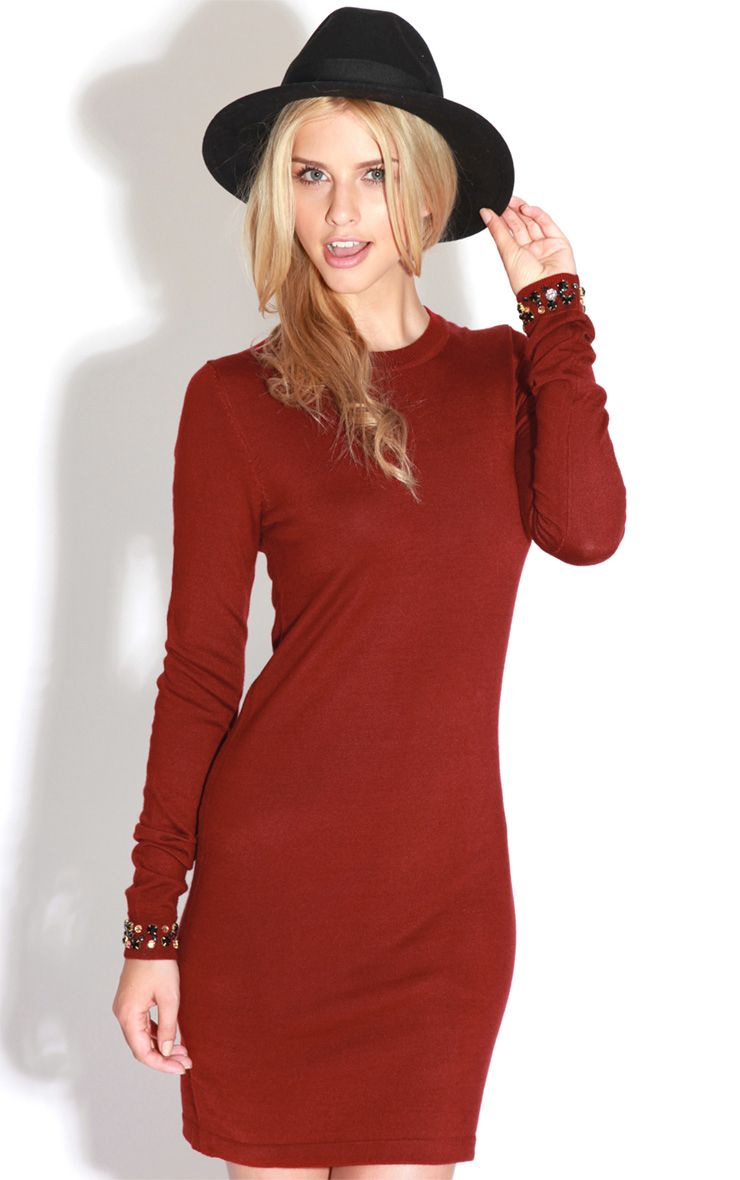 Fion Burgundy Long Sleeve Jumper Dress Red