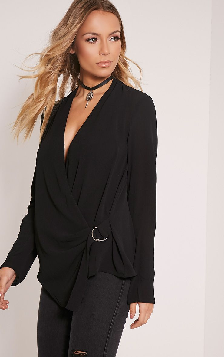 Olivia Black D Ring Cross Front Blouse 1