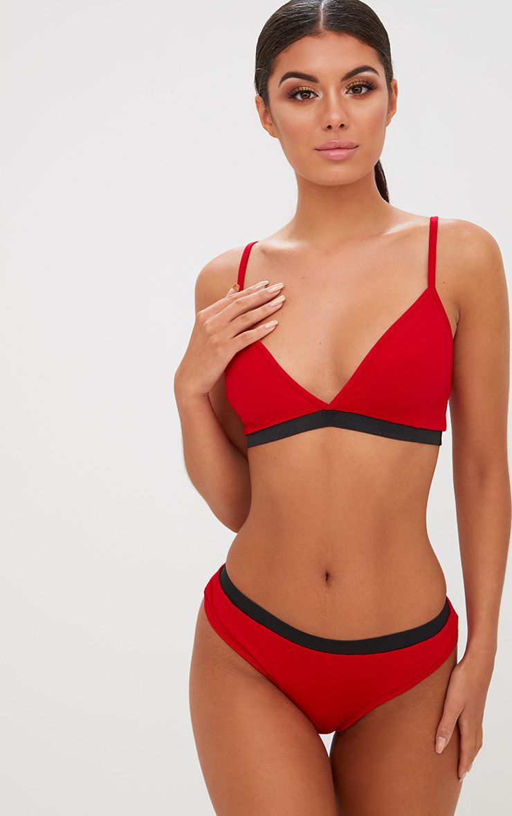 Basic Red Jersey Bra and Knicker Set