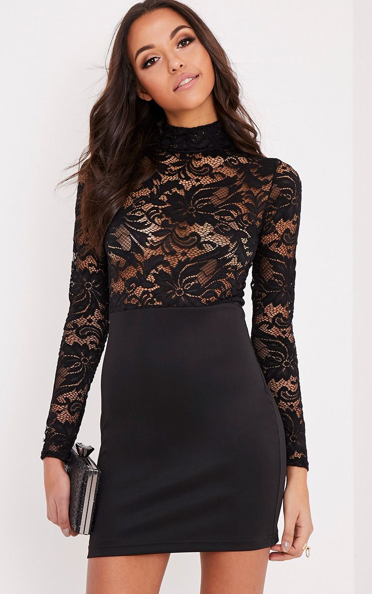 Izzie Black Sheer Lace Top Bodycon Dress