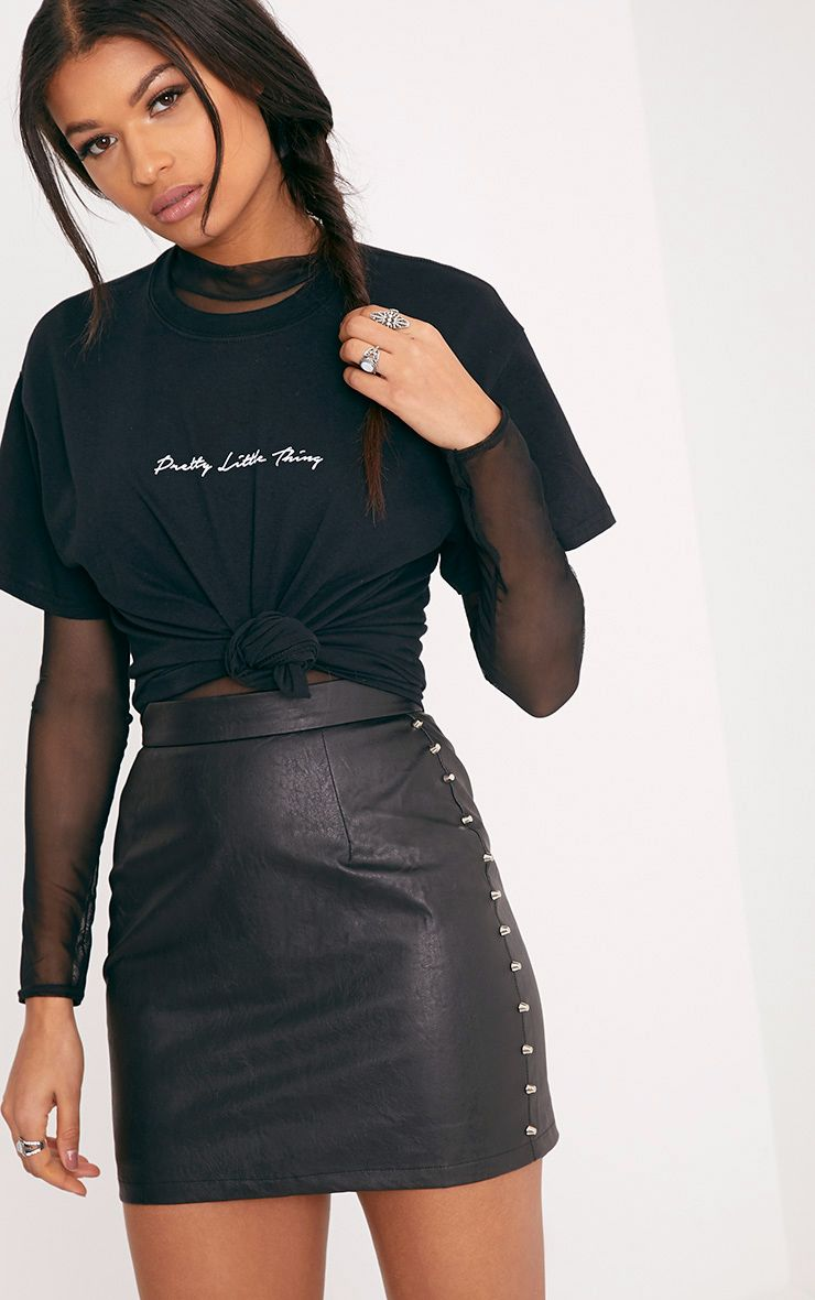 Orabella Black Studded PU Mini Skirt