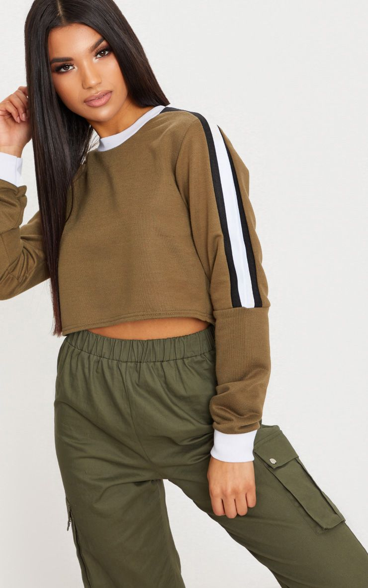 Khaki Triple Shoulder Stripe Crop Sweater
