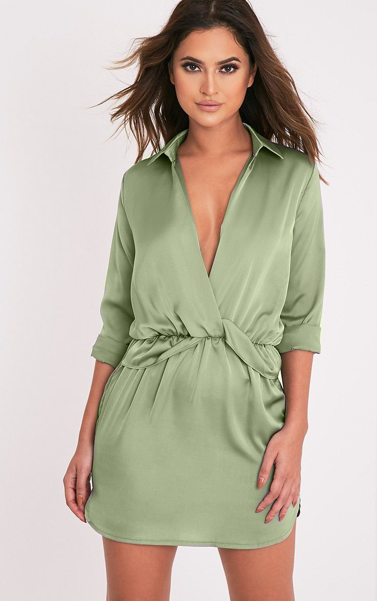 Katalea Sage Green Twist Front Silky Shirt Dress