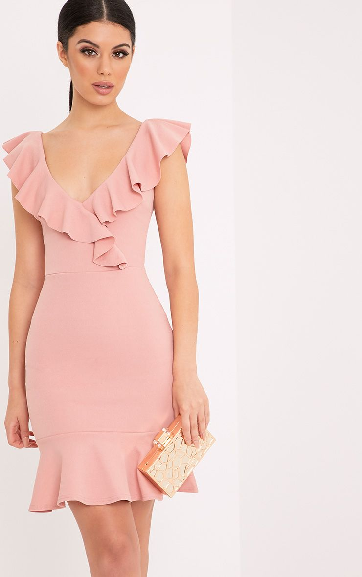 Luissi Rose Frill Detail Bodycon Dress