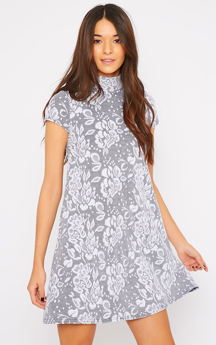 Nevah Grey Turtle Neck Floral Lace Swing Dress 1