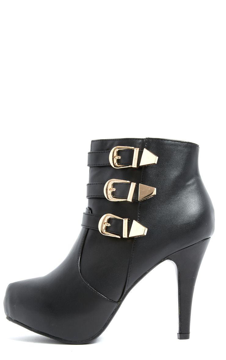 Product photo of Tatina gold buckle high heel boots black