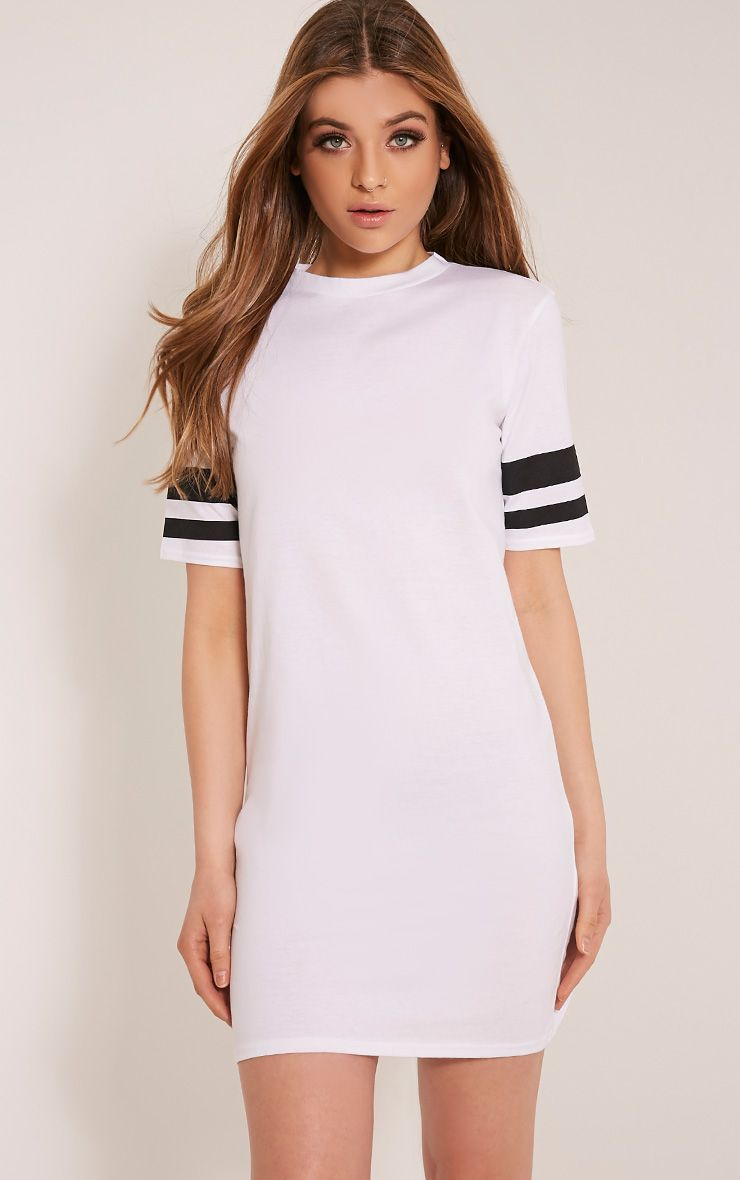 Taylia White Stripe Sleeve T Shirt Dress 1