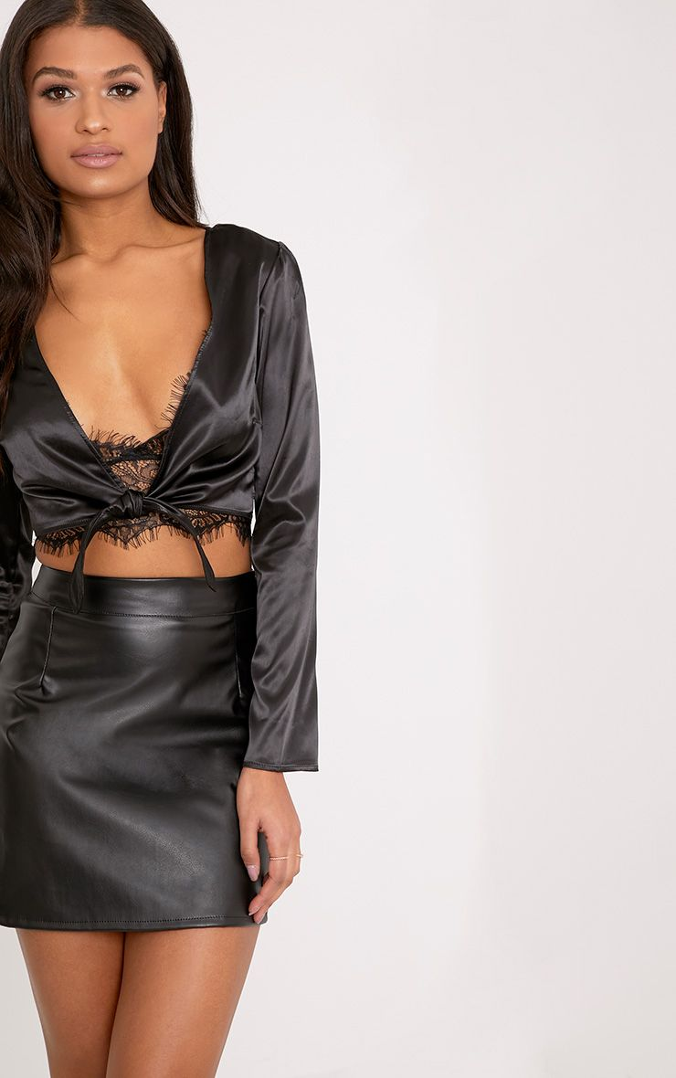 Rae Black Satin Tie Waist Crop Blouse