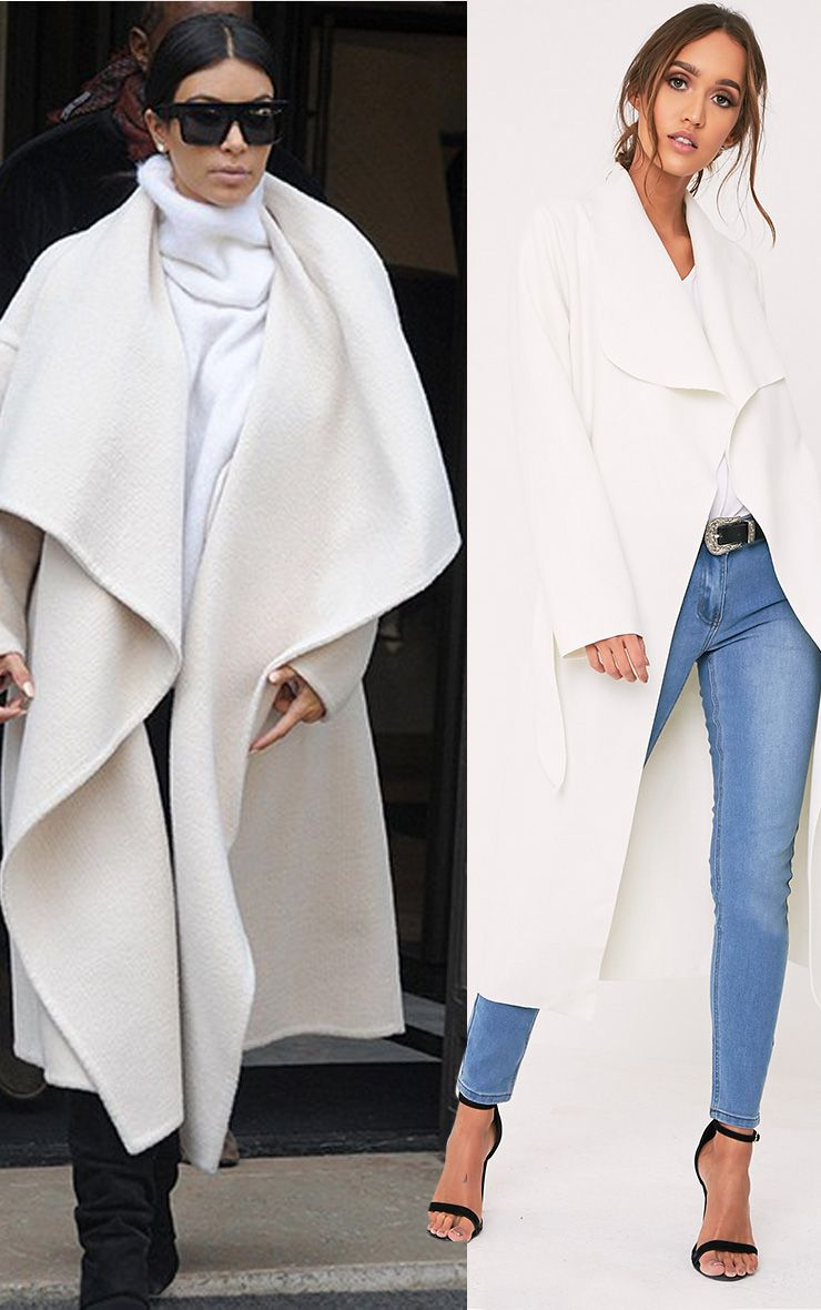 Veronica Cream Oversized Waterfall Belt Coat