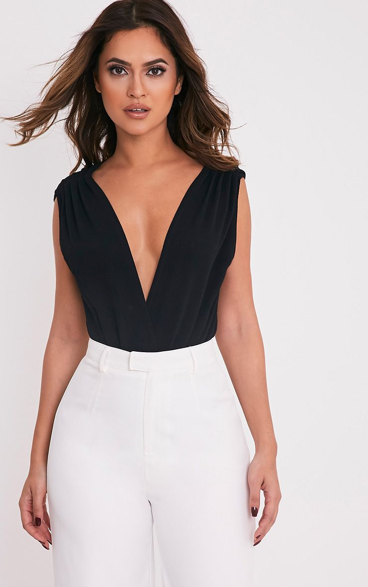 Lexine Black Ruched Shoulders Thong Bodysuit 1