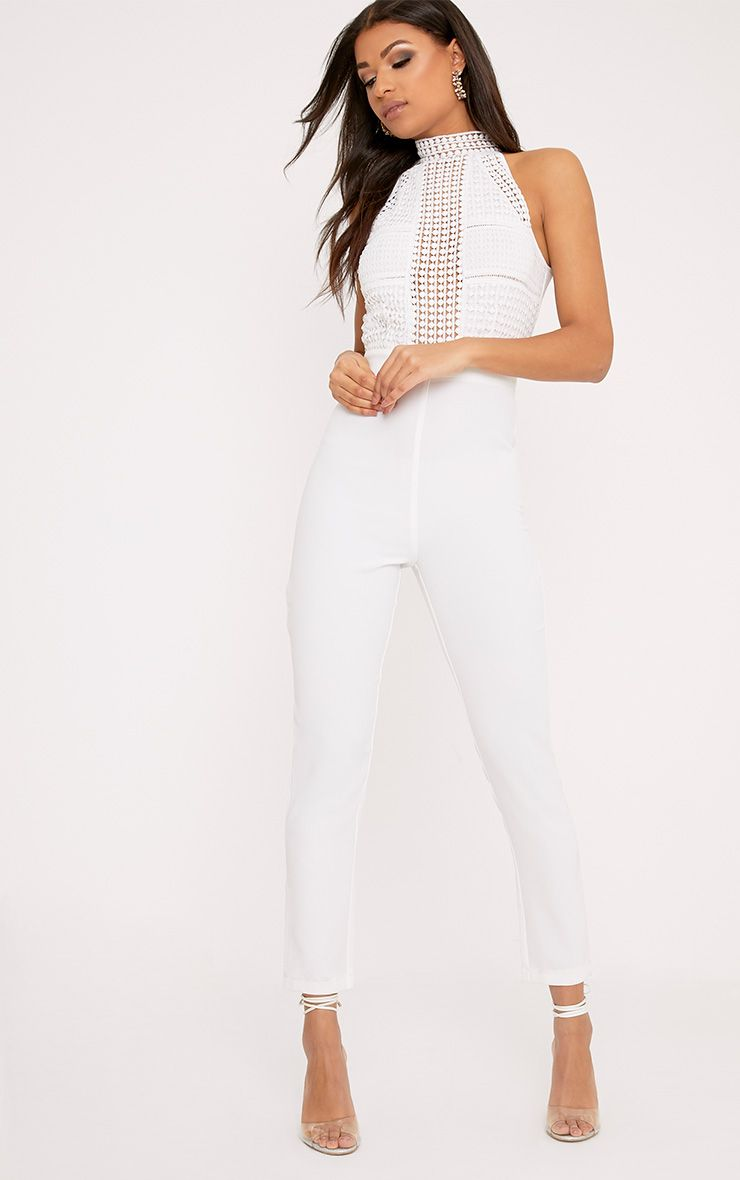 Tasha White Lace Embroidery Top Jumpsuit