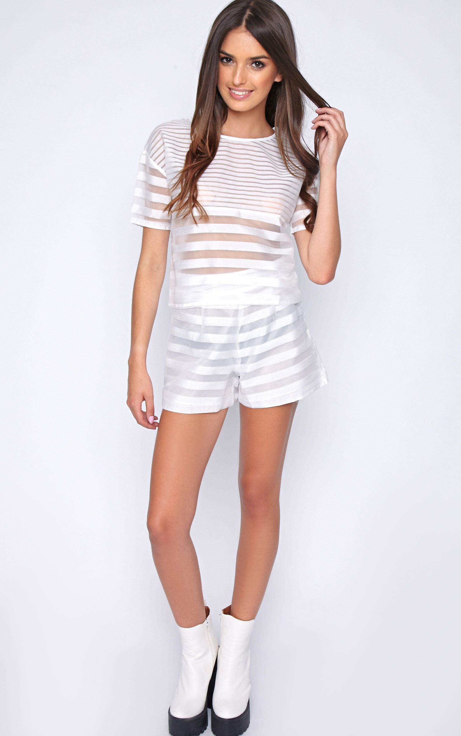Jen White Sheer Stripe Shorts 1