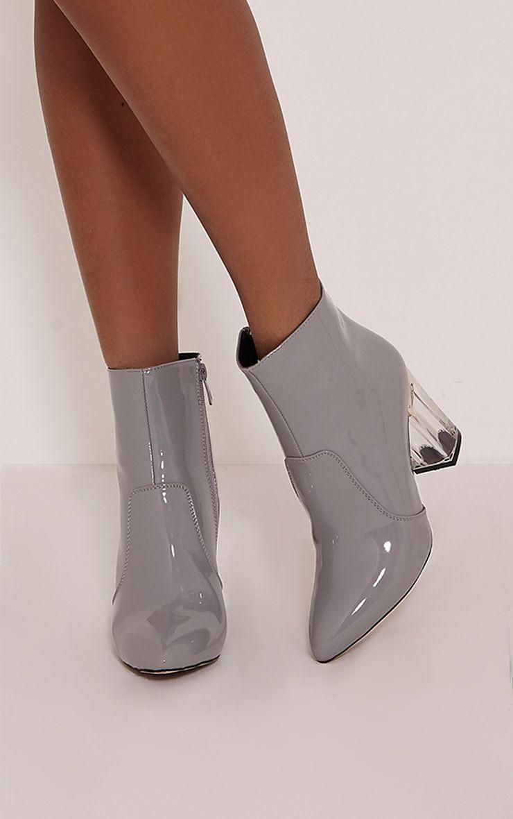 Kalia Grey Perspex Heel Ankle Boots 1