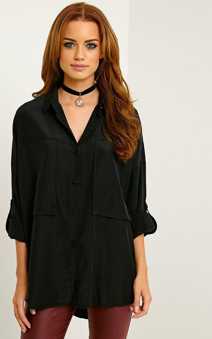 Birta Black Oversized Pocket Shirt 1