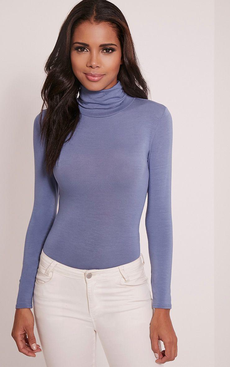 Basic Petrol Blue Long Sleeve Roll Neck Bodysuit 1