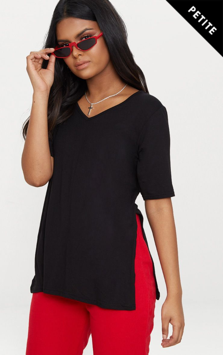 Petite Black V Neck Side Split T-Shirt