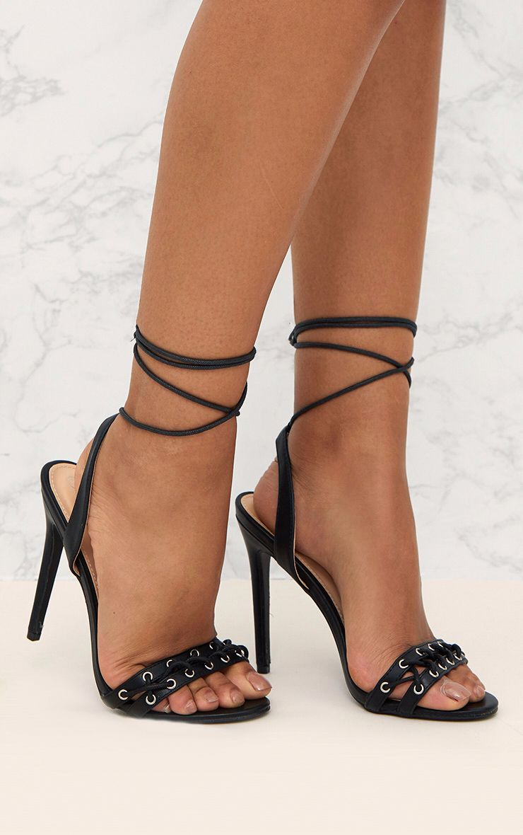 Black PU Lace Up Strap Heeled Sandals