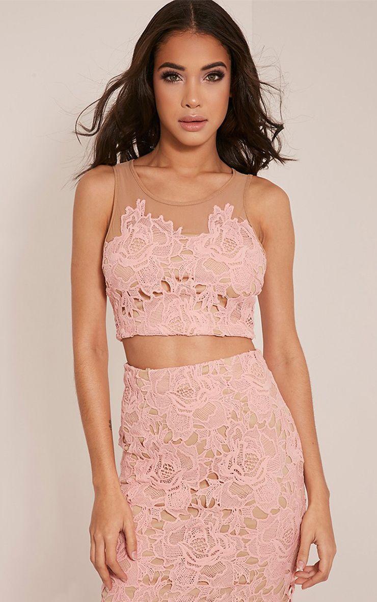 Virginia Baby Pink Lace Crop Top 1