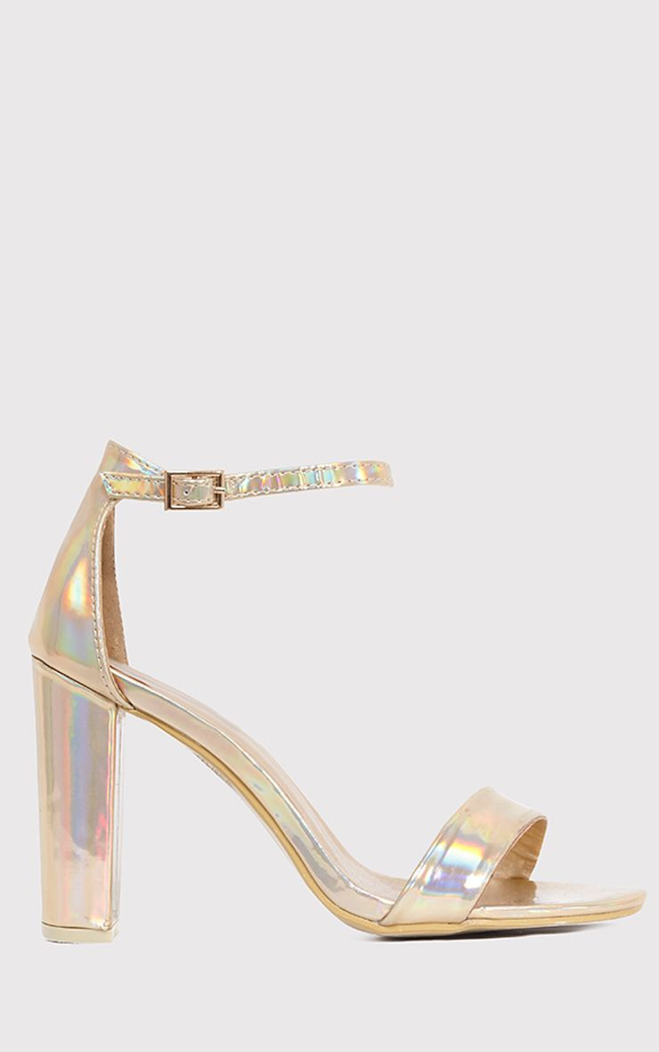 May Gold Holographic Block Heeled Sandals 1