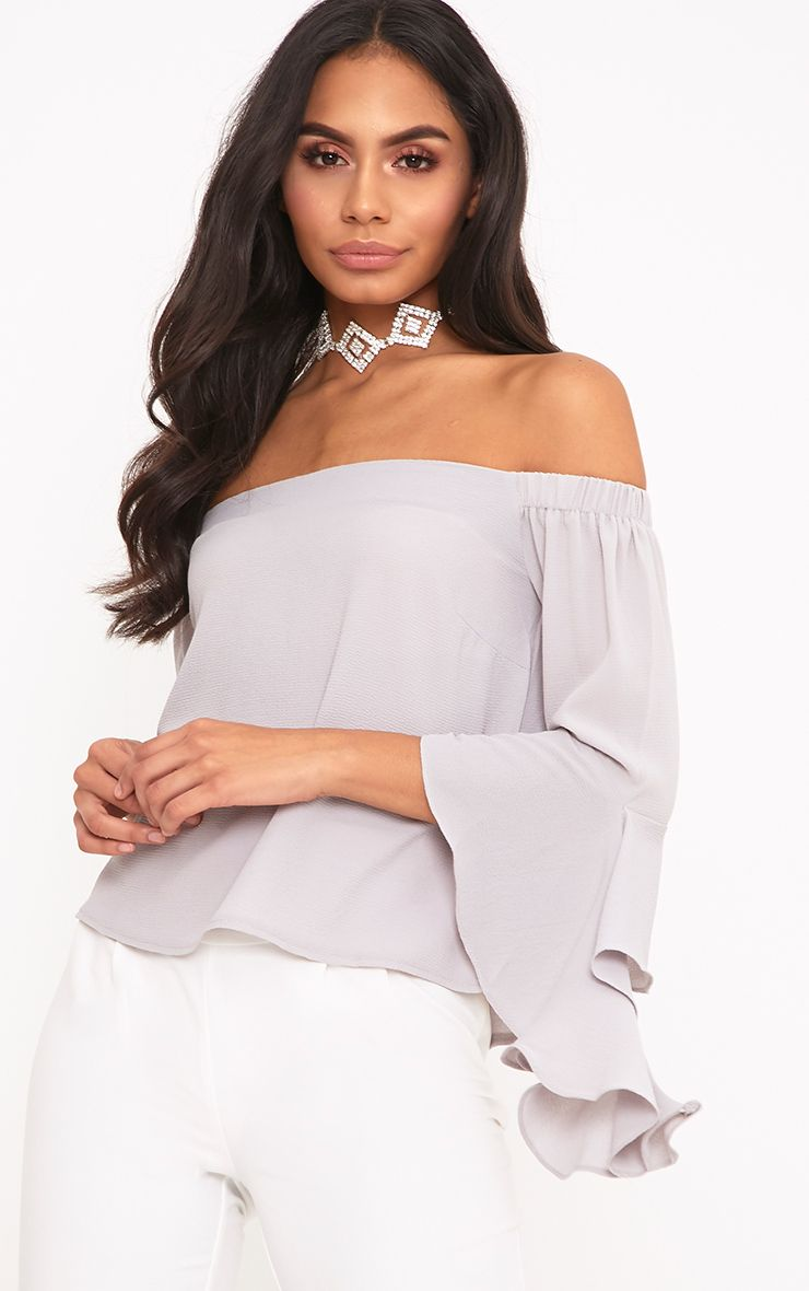Asa Grey Bardot Woven Frill Sleeve Blouse