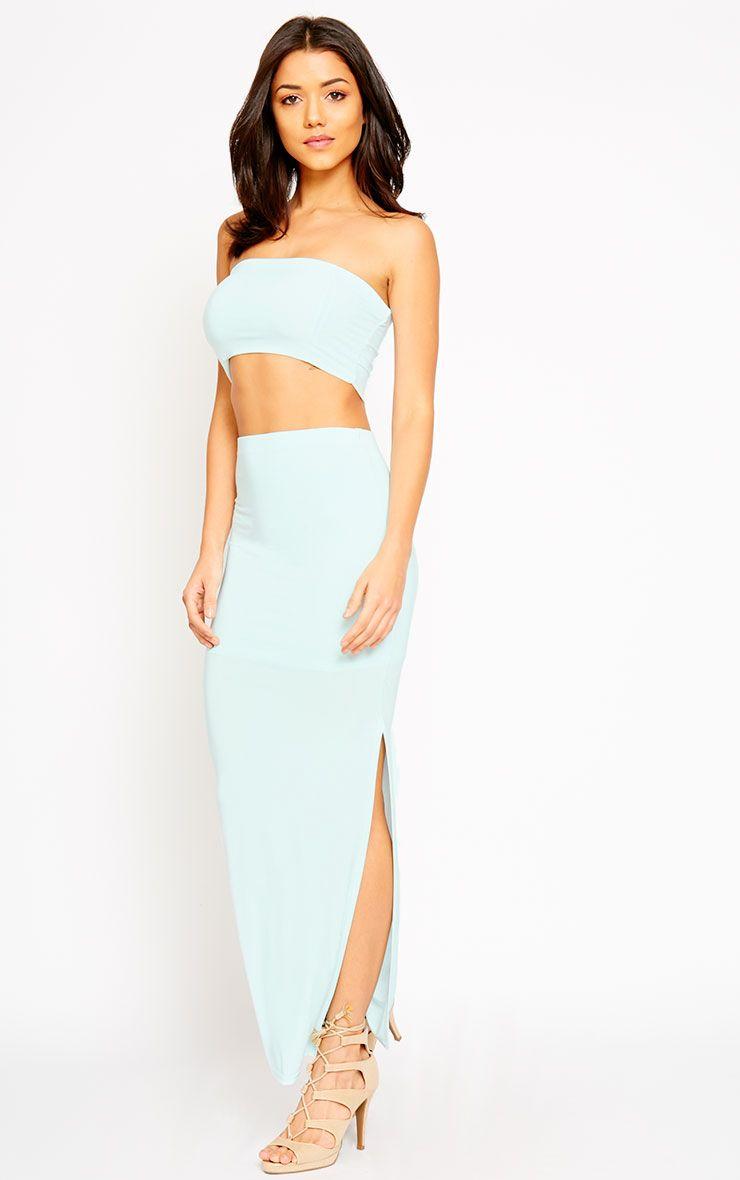 Helsa Mint Slinky Split Maxi Skirt 1