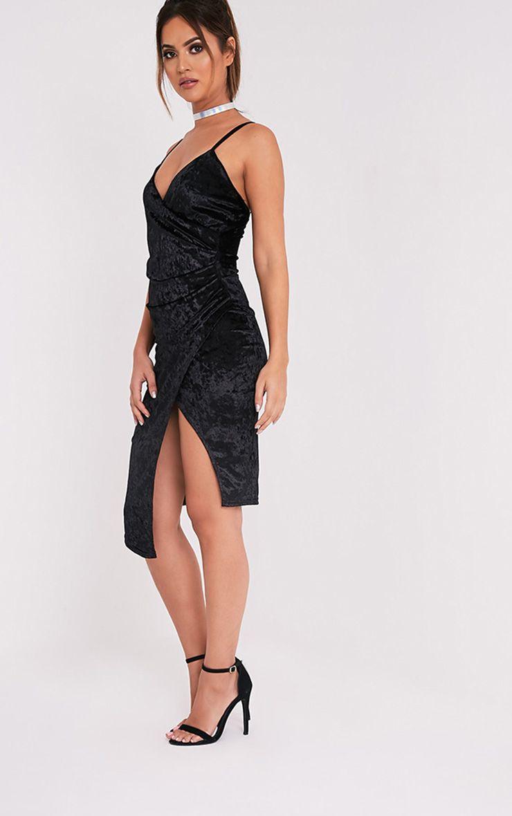 Prina Black Crushed Velvet Strappy Wrap Over Midi Dress 4