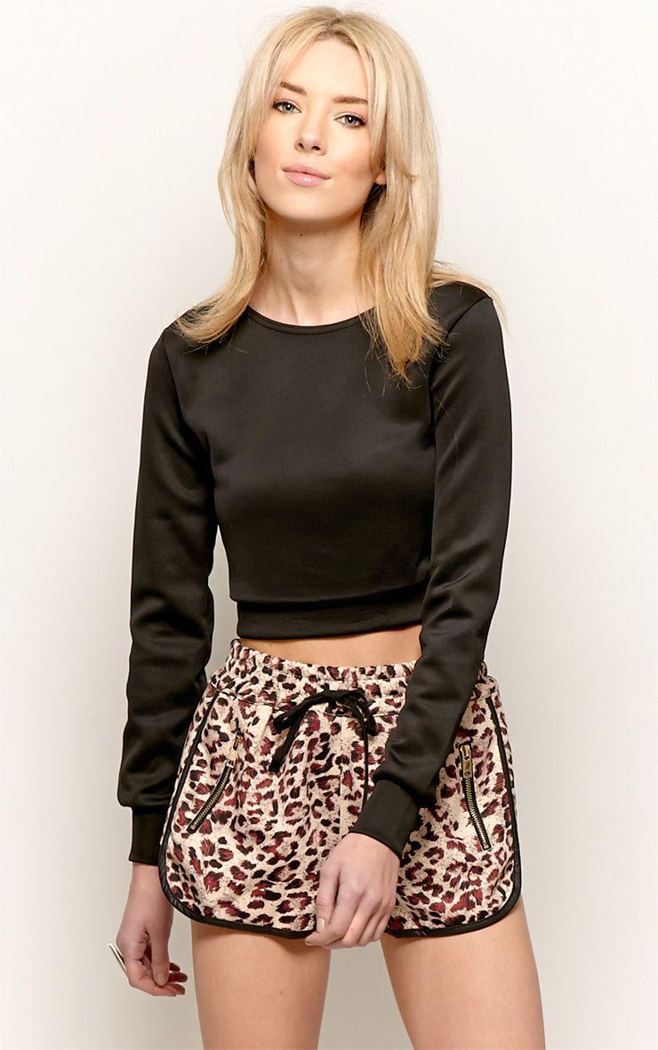 Grace Black Cropped Scuba Sweater 1