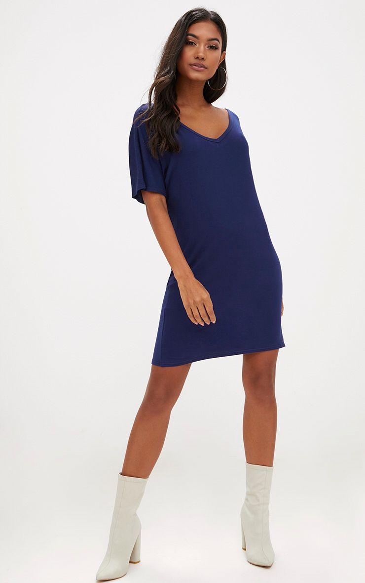 Basic Navy V Neck T Shirt Dress Dresses