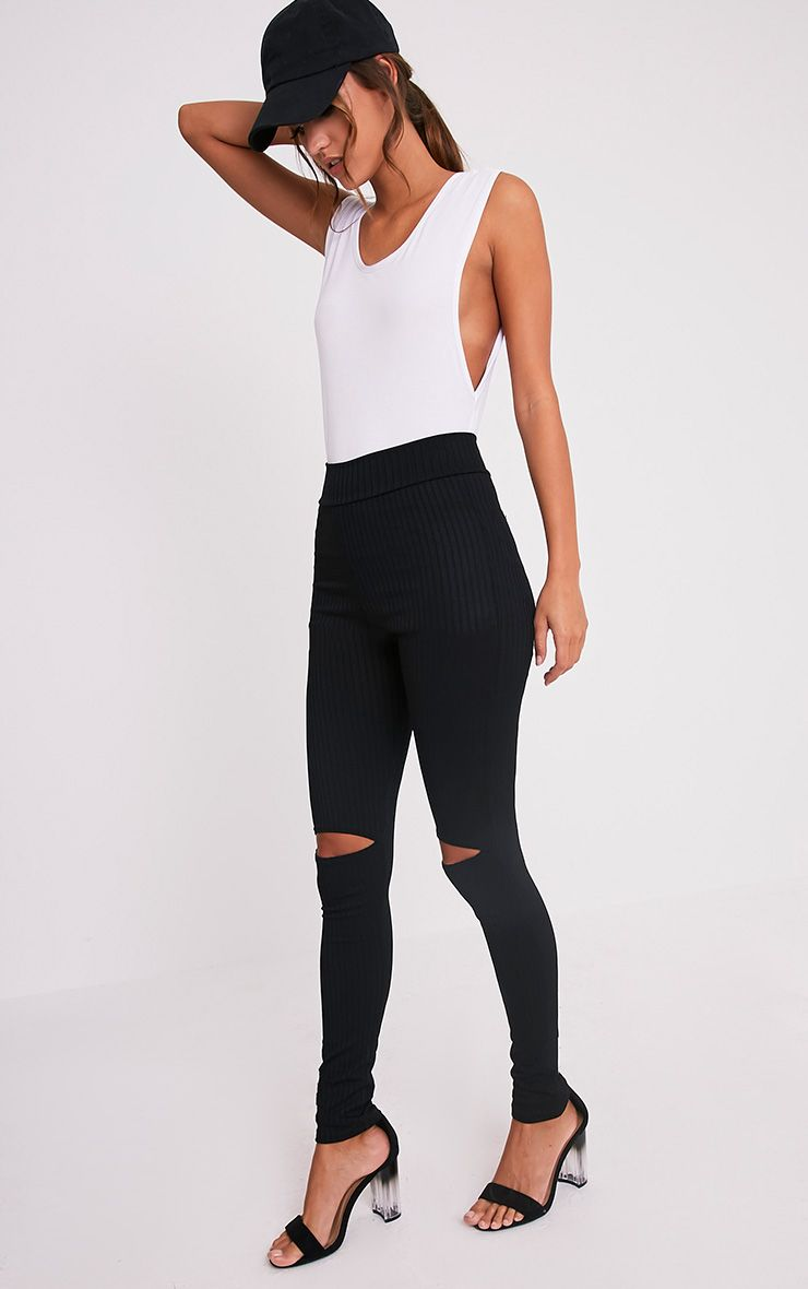 Harlie Black Knee Slit High Waisted Leggings