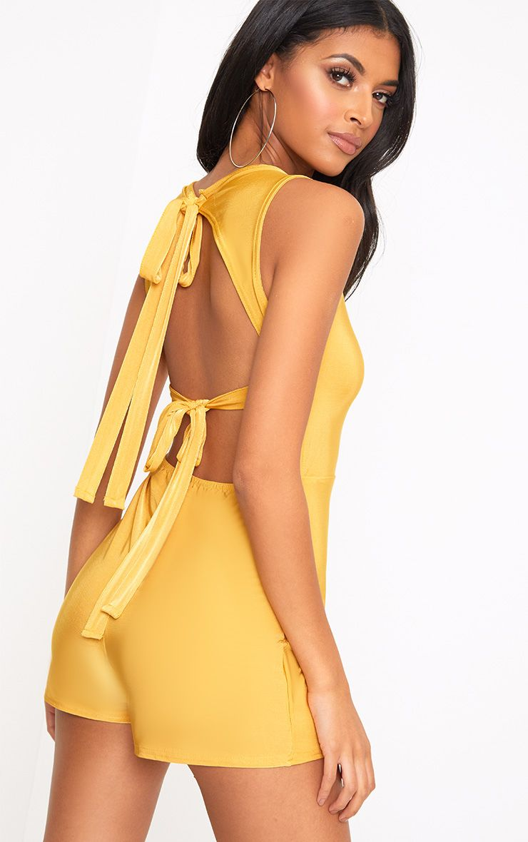Mustard Slinky Bow Back Playsuit