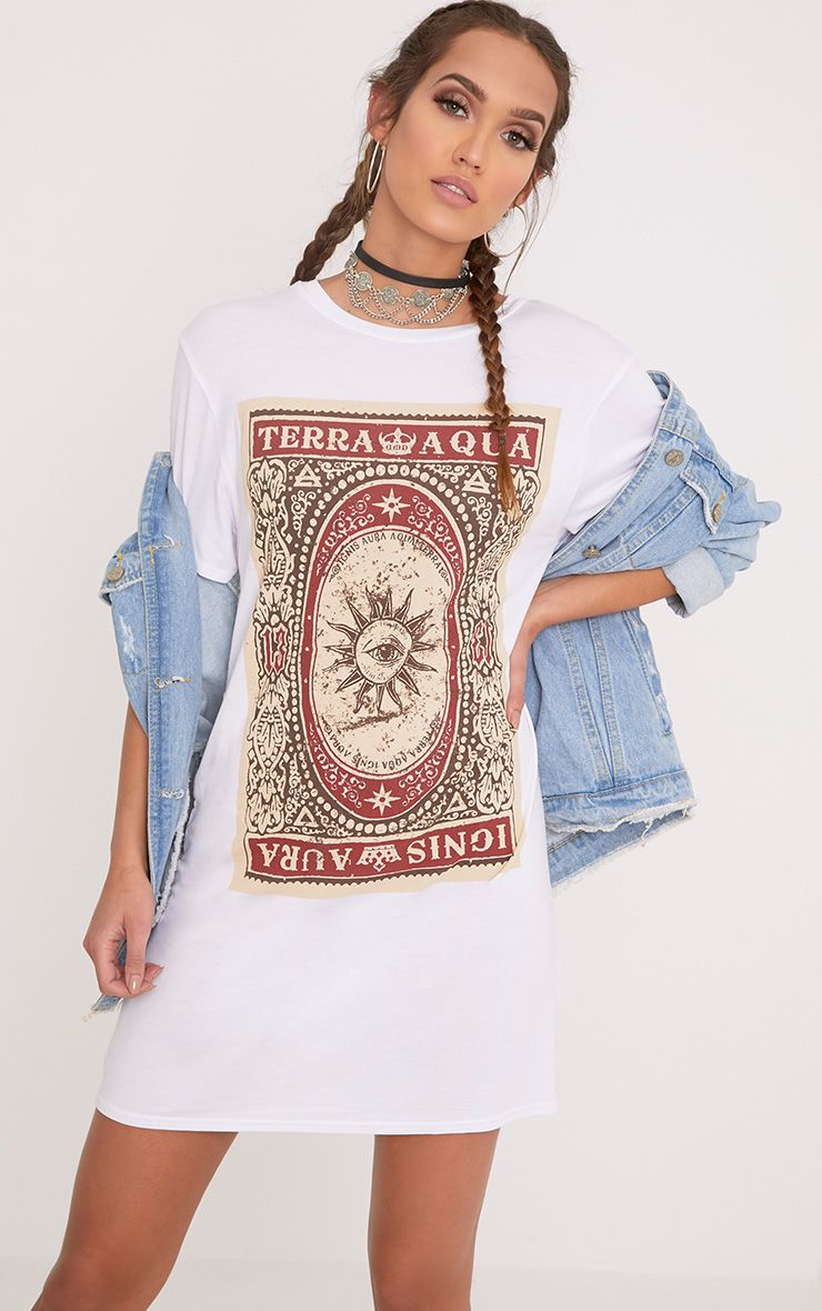 Tarot Card Printed White T Shirt Dress