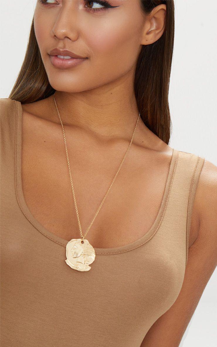 Gold Renaissance Ancient Disc Pendant Necklace
