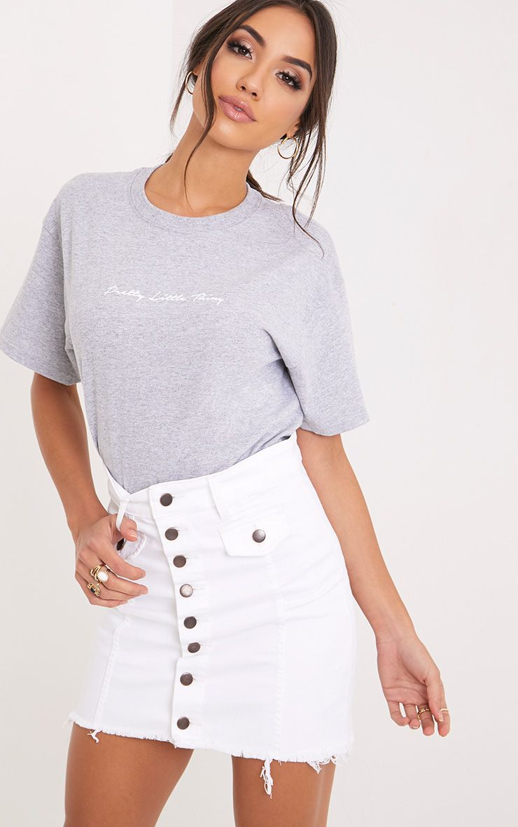 Liz White Bodycon Button Through Denim Mini