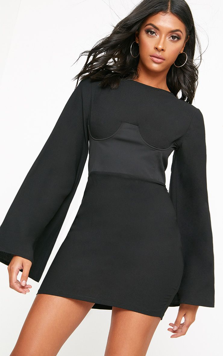 Black Corset Detail Flare Sleeve Bodycon Dress