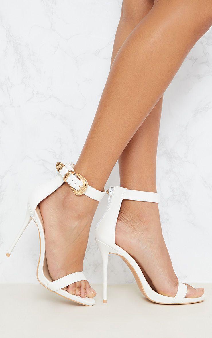White Western Buckle Sandal