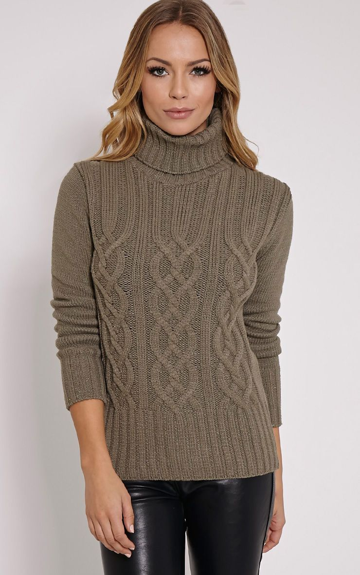 Yonda Khaki Roll Neck Knitted Jumper 1