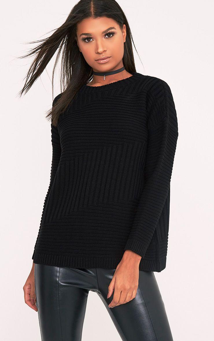 Emersyn Black Two Way Chunky Knit Jumper